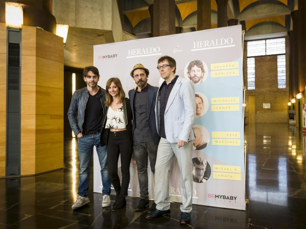 Eduardo Noriega, Michelle Jenner, Fele Martínez y Miguel Ángel Lamata, en el auditorio, donde participaron en 'Conoce más a...'.