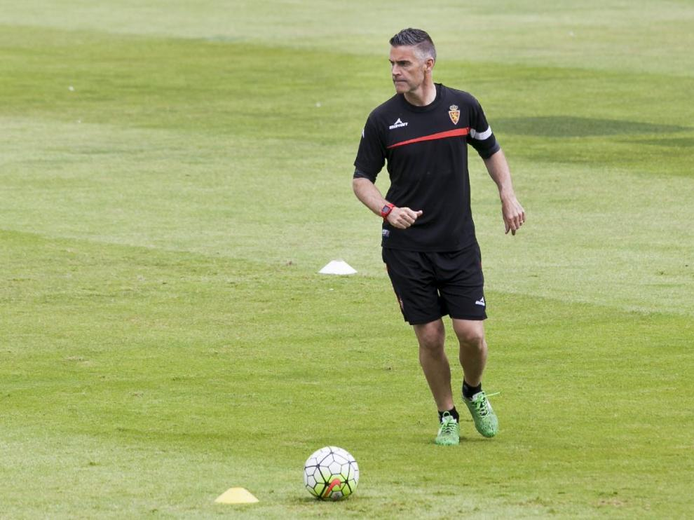 Lluís Carreras, en el entrenamiento llevado a cabo en La Romareda este sábado.