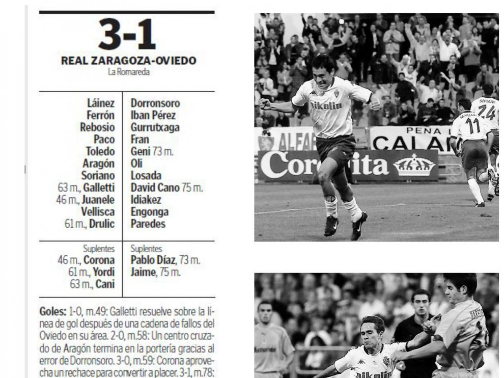 Ficha del partido Real Zaragoza-Real Oviedo de octubre de 2002 y fotografías del 1-0, marcado por Galletti, y del 3-0 logrado por Corona, que está obstaculizado por Paredes.