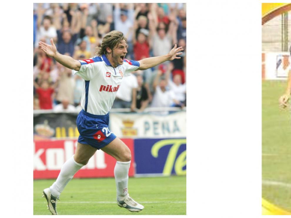 Generelo, en su época de jugador del Real Zaragoza, celebra un gol en La Romareda. A su lado, Carreras cuando militó en el Real Oviedo.