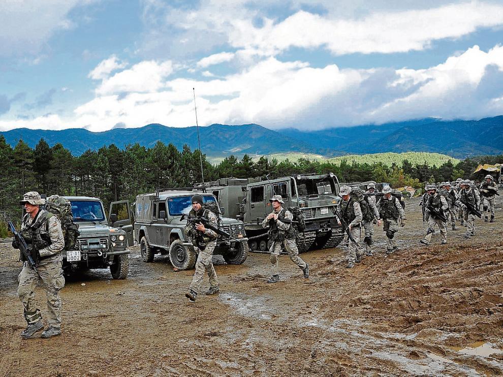 Soldados del regimiento Galicia 64 de Jaca, una de las unidades que iba a participar en las maniobras del Sobrarbe
