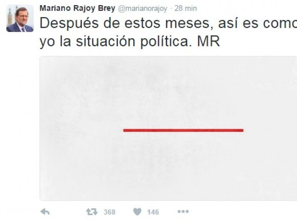 """""""Después de estos meses, así es como veo yo la situación política"""", ha escrito Rajoy acompañando el texto con la imagen de un rectángulo blanco en cuyo centro figura una línea roja horizontal."""