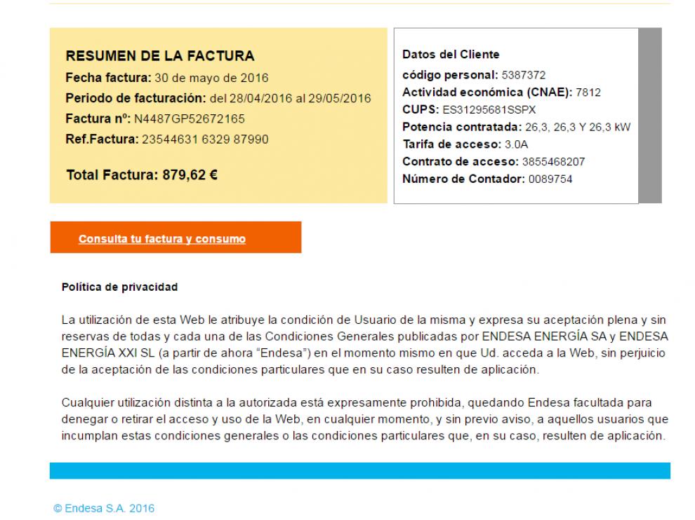 La factura falsa de Endesa enviada a través de correo electrónico que roba datos de los clientes.