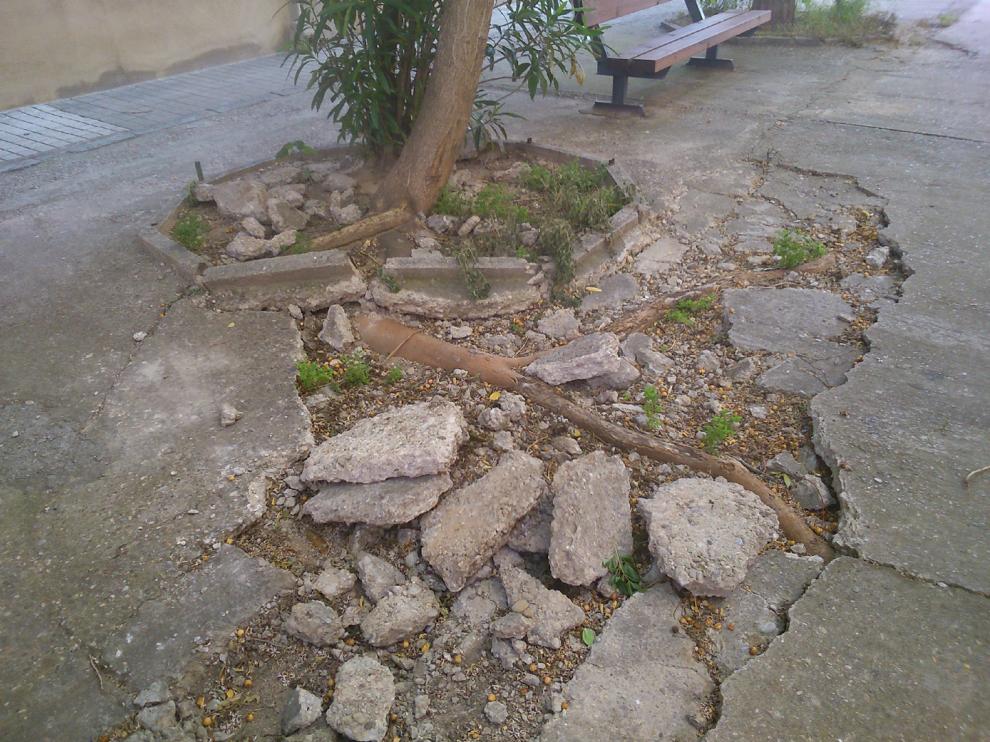Estado del asfalto en la calle Sallent de Gállego del barrio de Torrero.
