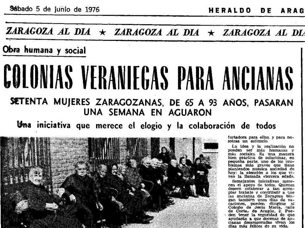 Noticia publicada en Heraldo de Aragón sobre las colonias de verano para ancianas solas y desamparadas.