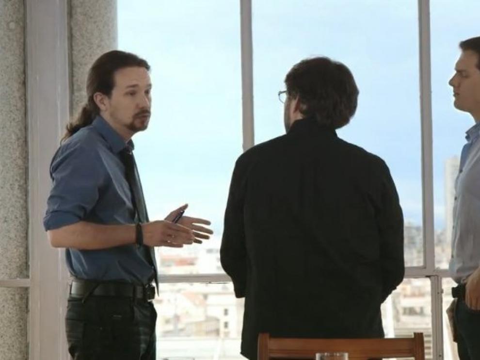 Iglesias y Rivera durante su segundo 'cara a cara' en Salvados.