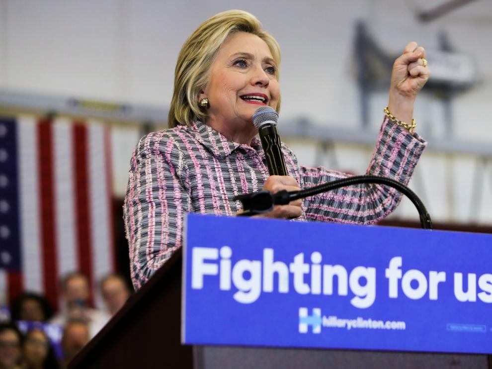 Hillary Clinton durante un acto de campaña en California.