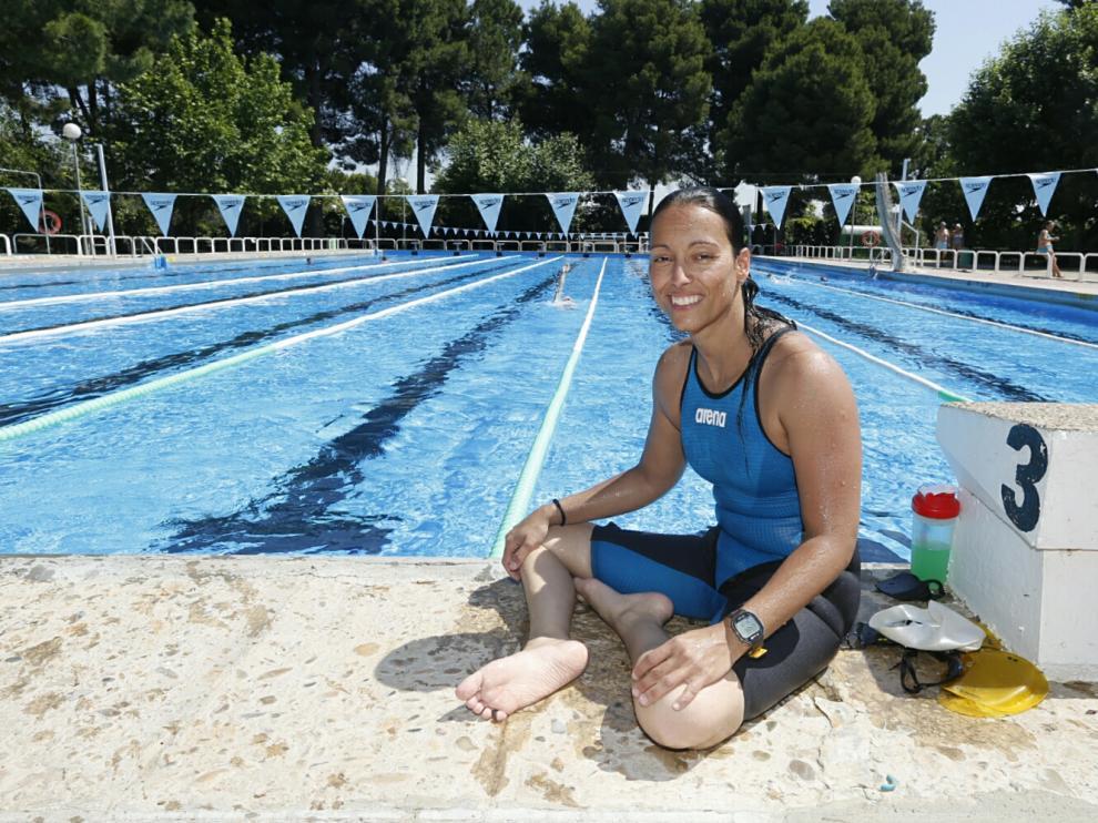 La nadadora aragonesa Teresa Perales, en la piscina