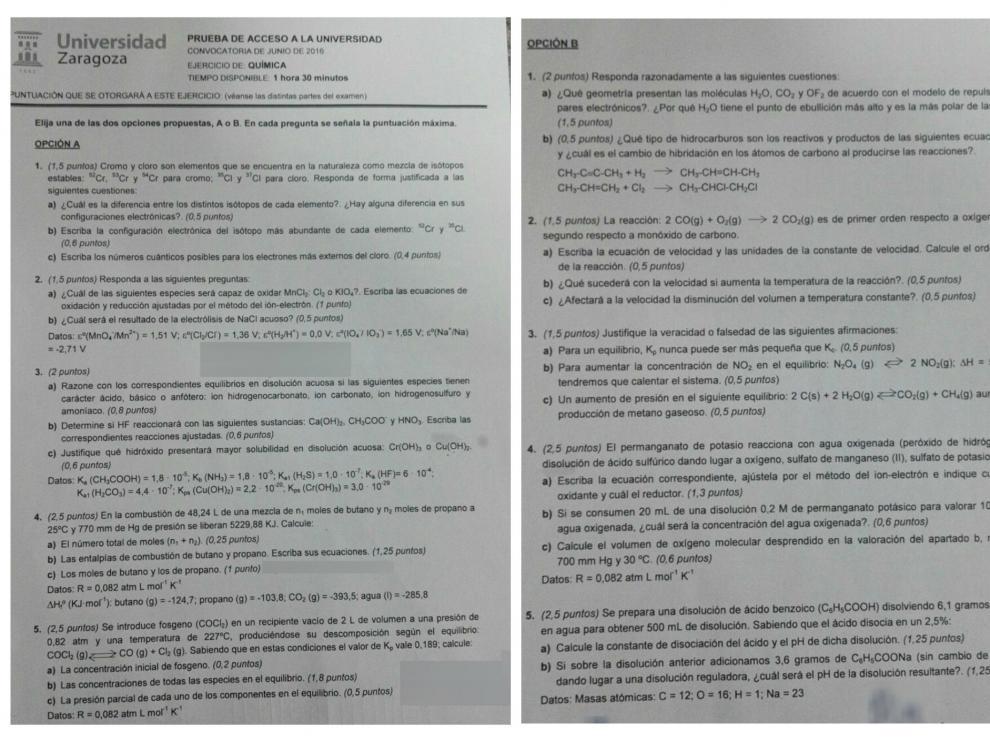 Examen de química de junio 2016.