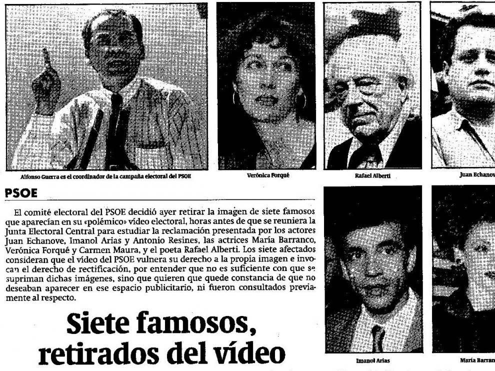 Noticia publicada el 21 de octubre de 1989, durante la campaña electoral de las elecciones generales.