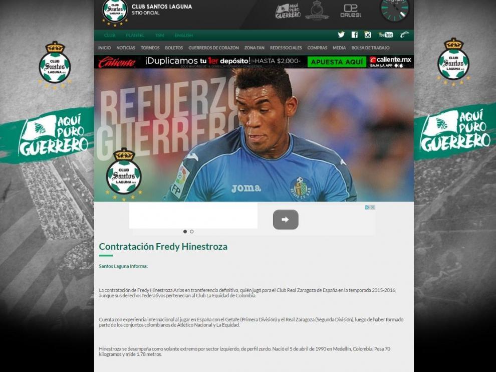 Imagen de la página web oficial del Santos Laguna, club mexicano, en la que anuncia oficialmente el fichajes de Freddy Hinestroza.