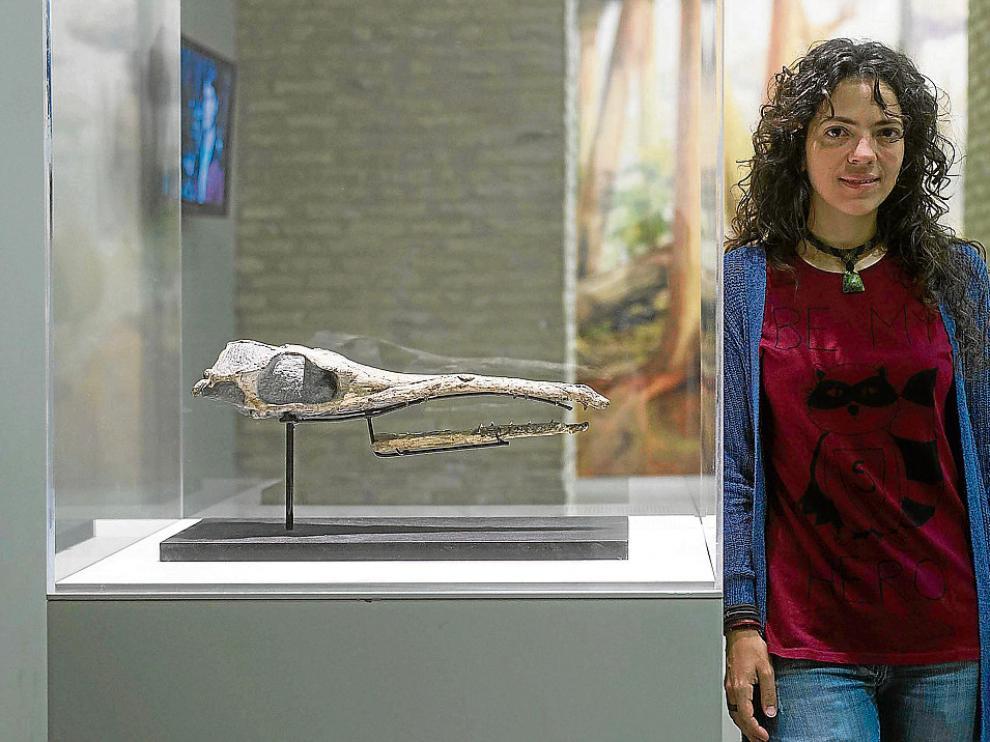 La investigadora Jara Parrilla junto a los restos fosilizados del cocodrilo encontrado junto al AVE.