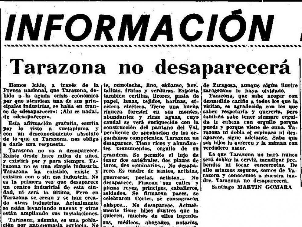 Noticia publicada hace 50 años en Heraldo de Aragón en réplica a otra publicada en un medio nacional que daba por hecho que Tarazona iba a desaparecer.