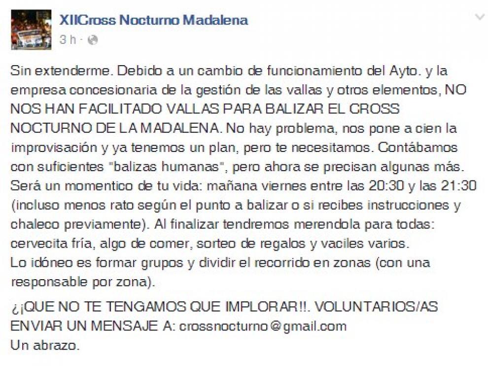 A través de Facebook han solicitado la ayuda de voluntarios.