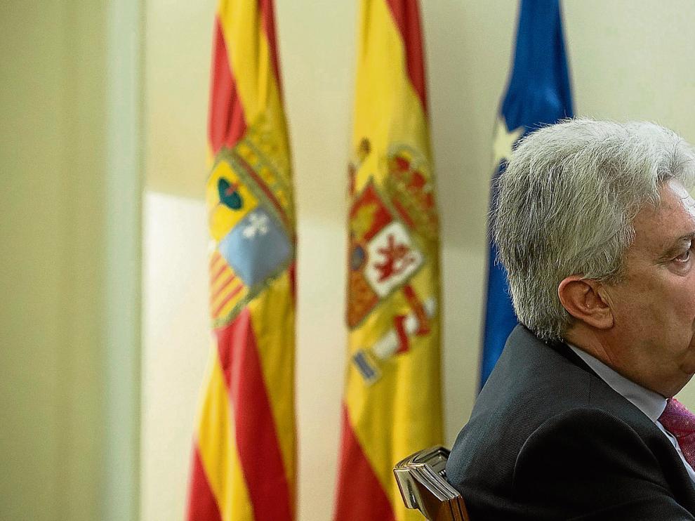 Fidel Cadena, fiscal jefe de la Sala de lo Penal en el Tribunal Supremo, el pasado martes en el Colegio de Abogados de Zaragoza.