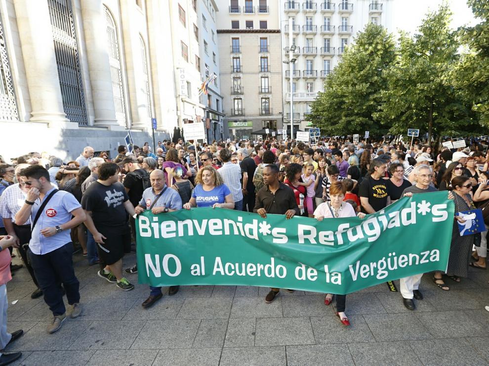 Manifestación por los refugiados en Zaragoza.