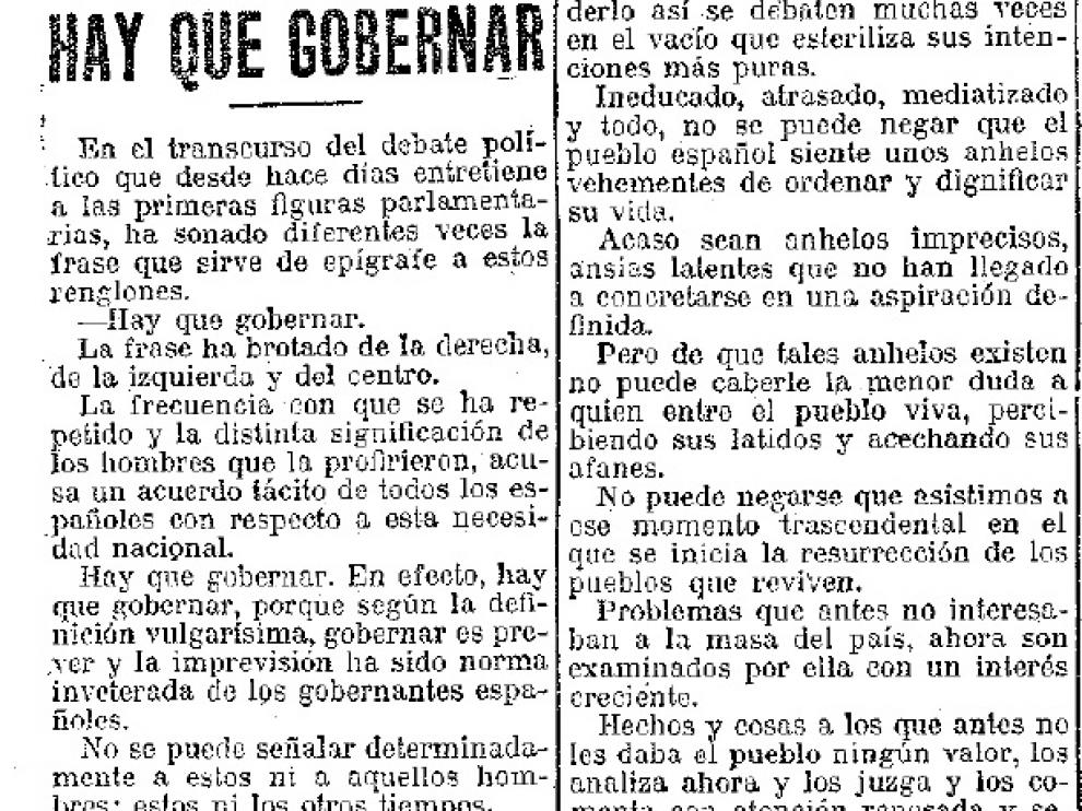 Editorial de HERALDO publicado el 18 de junio de 1916.