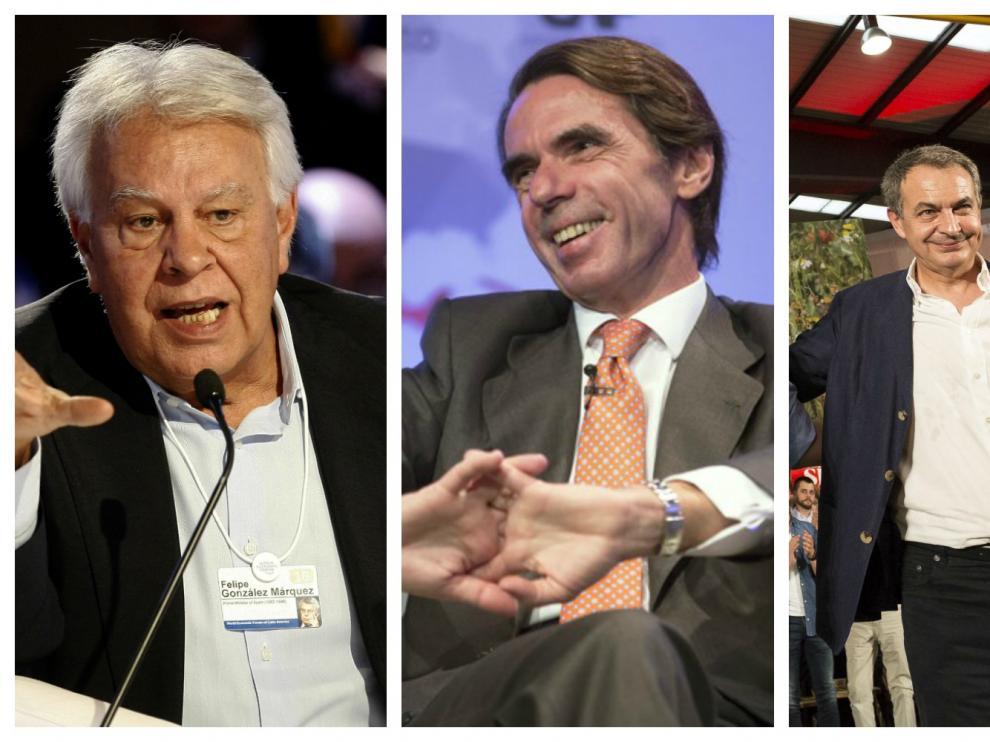 Felipe González, José María Aznar y José Luis Rodríguez Zapatero.