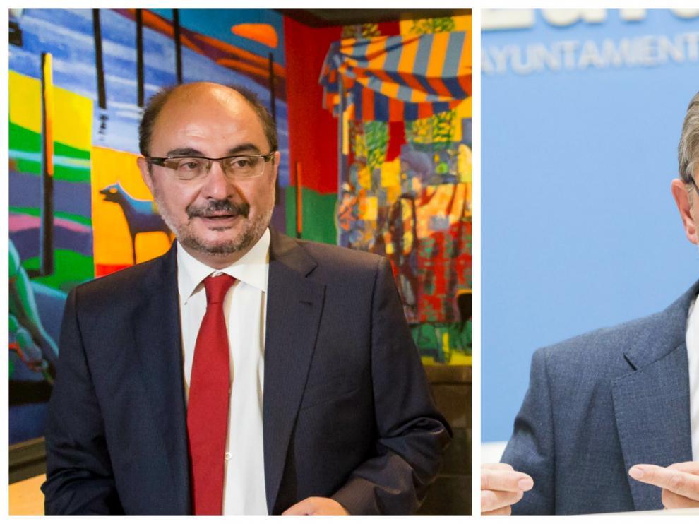 Javier Lambán, presidente del Gobierno de Aragón, y Pedro Santisteve, alcalde de Zaragoza.