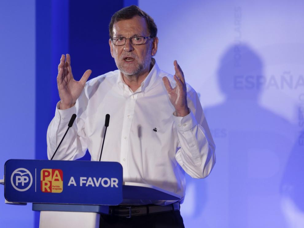 Rajoy, durante su intervención en Teruel