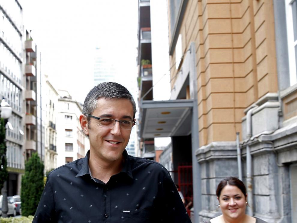 Eduardo Madina este domingo tras votar en Bilbao.