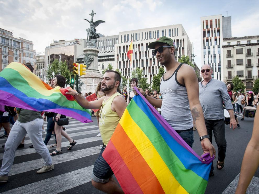 La marcha del Orgullo gay celebrada este miércoles en Zaragoza.