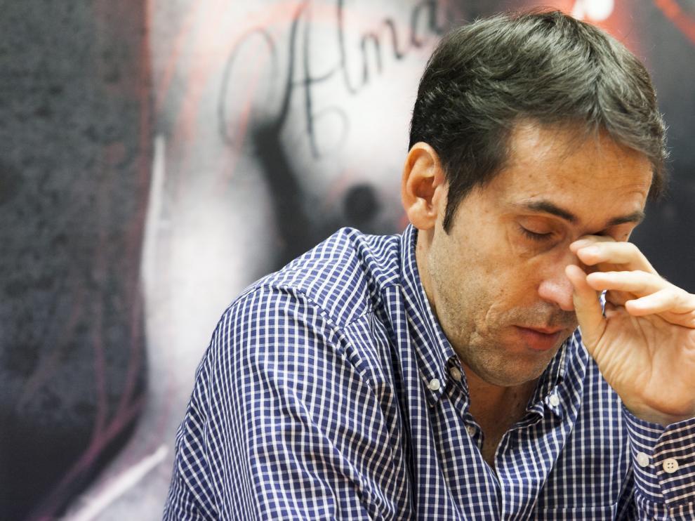 Un emocionado Willy Villar, durante la rueda de prensa que ofreció ayer para despedirse del CAI Zaragoza.