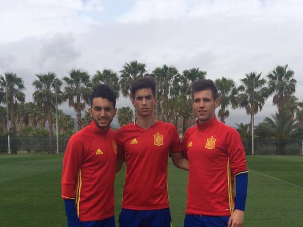 Morlanes, Millán y Subías, con la Selección española Sub-17.