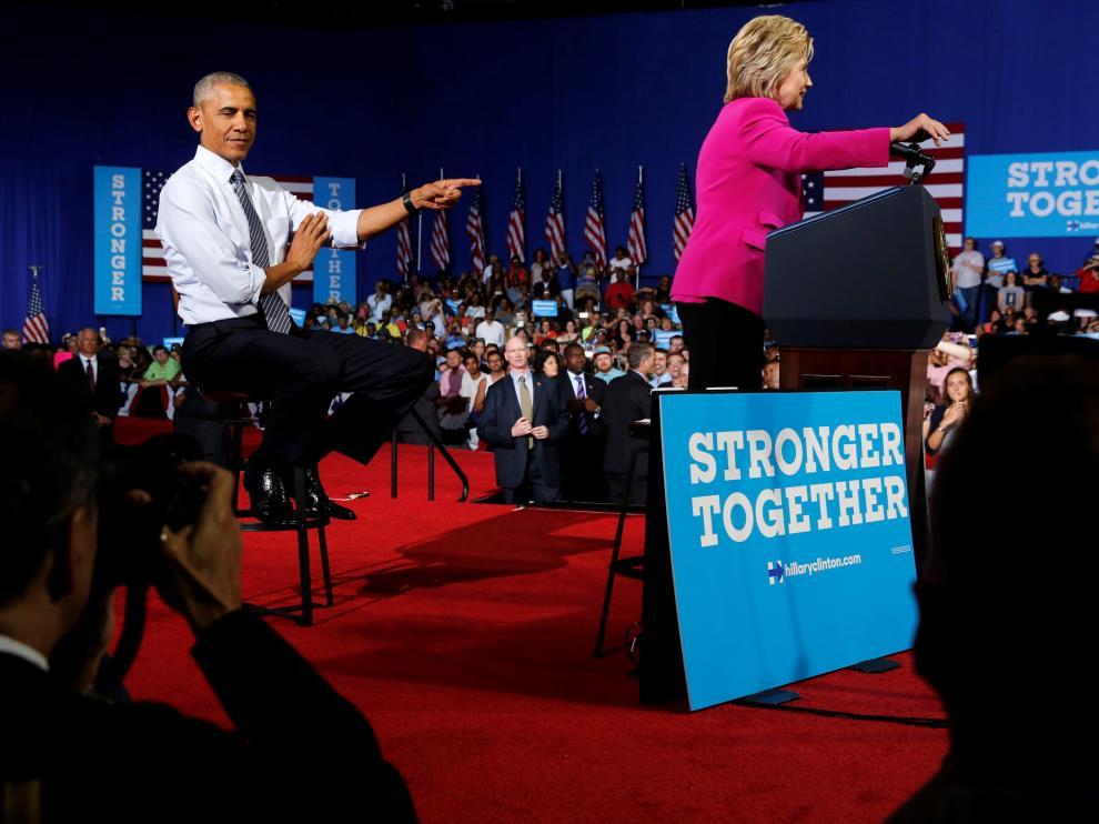 Obama, en su primer mitin conjunto con Hillary Clinton, este martes en Charlotte.