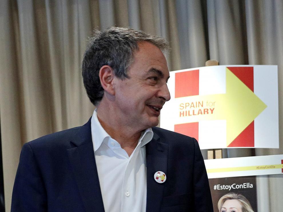Zapatero durante su participación en un acto en apoyo a Hillary Clinton.