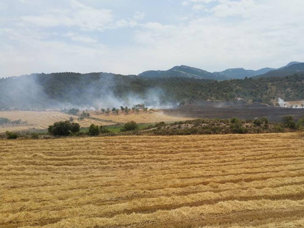 Incendio en un campo de cereal en Peñarroya de Tastavins.