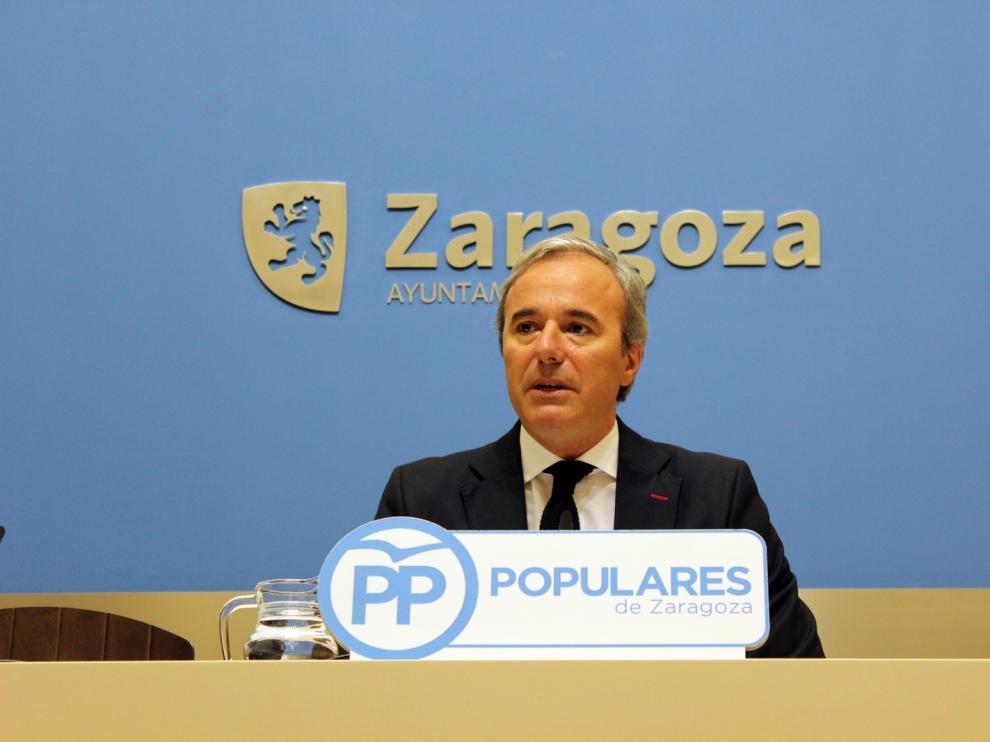 El portavoz del grupo municipal del Partido Popular en el Ayuntamiento de Zaragoza, Jorge Azcón.