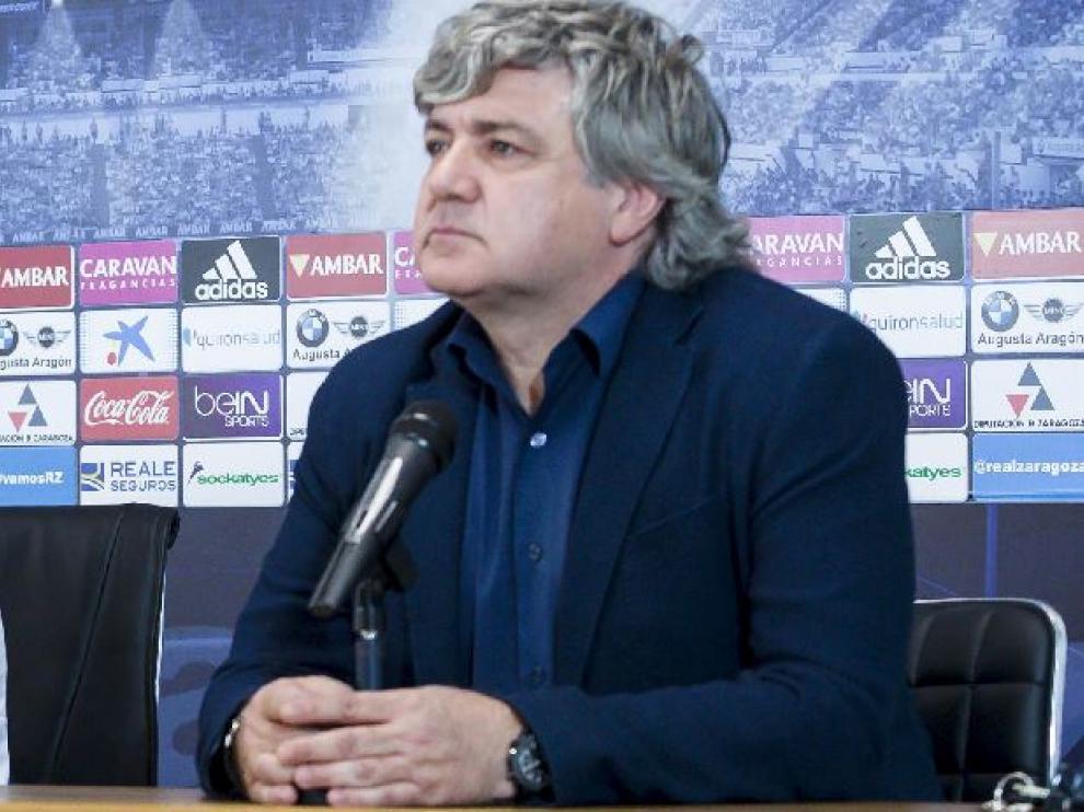 Narciso Juliá, director deportivo del Real Zaragoza, este jueves en la presentación de Xumetra en La Romareda.