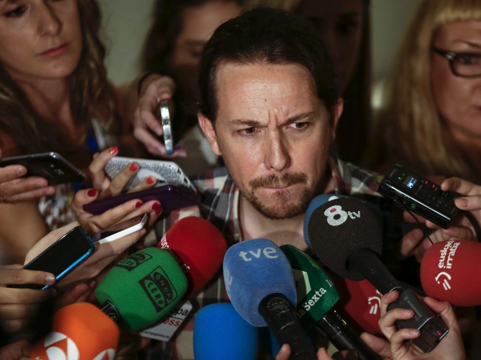 Pablo Iglesias a su llegada al Congreso.
