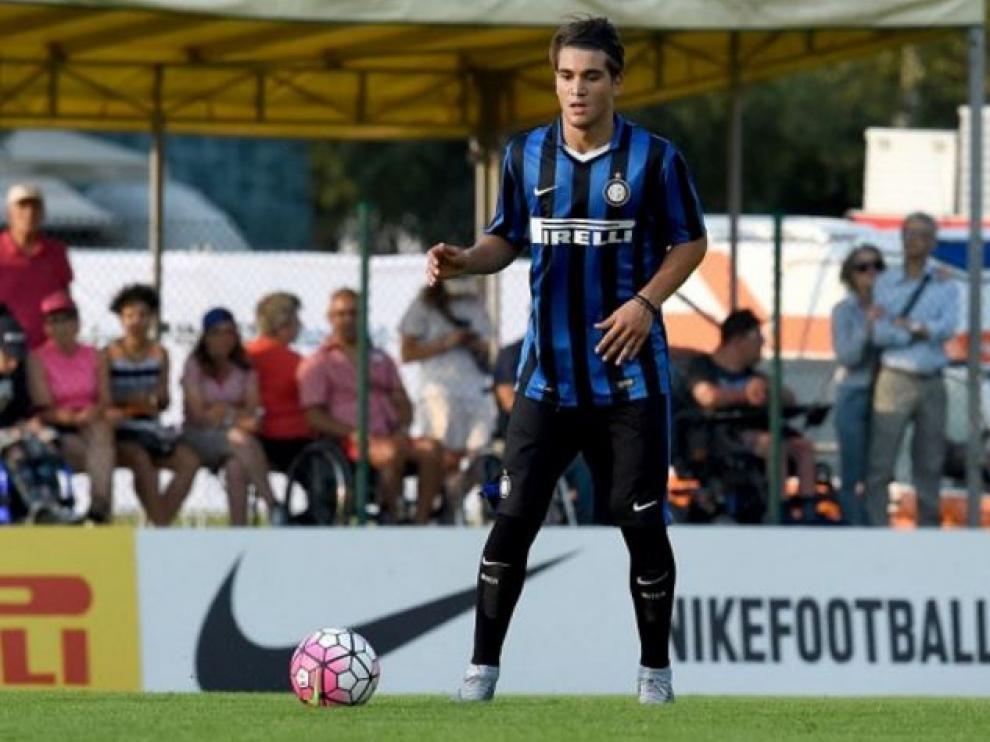 Popa, en un partido con el Inter de Milan Primavera en la pasada temporada.