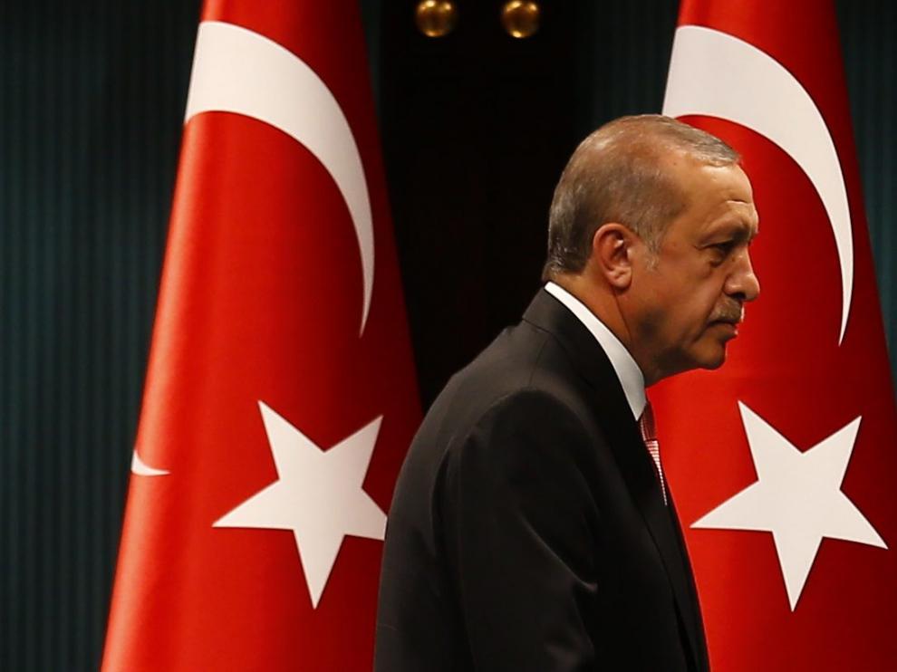 El presidente turco, Recep Tayyip Erdogan, durante su comparecencia