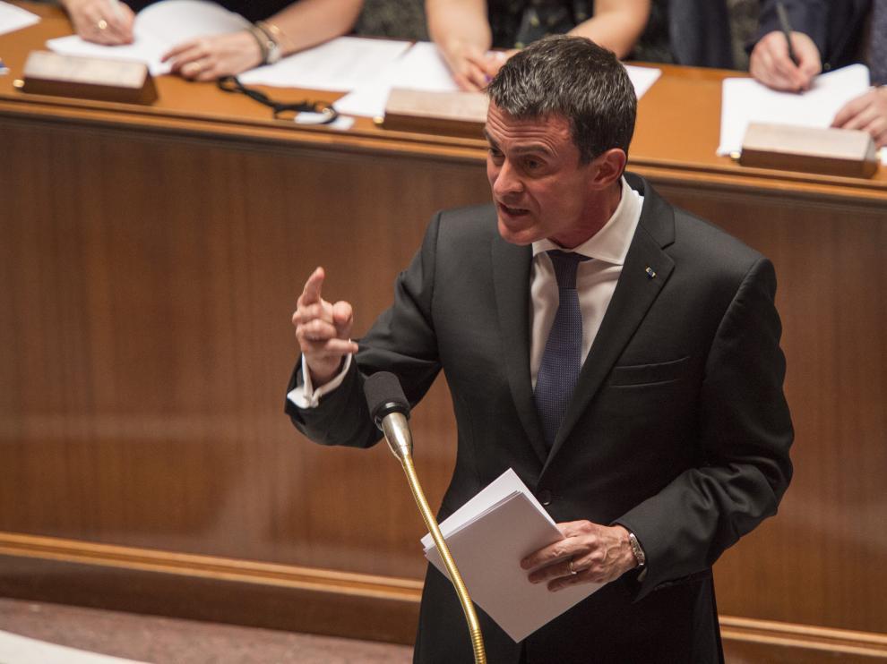 El primer ministro francés, Manuel Valls, durante una sesión en la Asamblea Nacional de París.