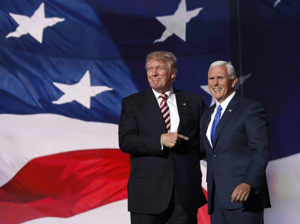 Mike Pence junto a Donald Trump en la Convención Nacional Republicana