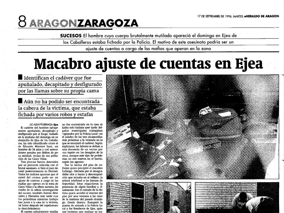 Noticia publicada el 17 de septiembre de 1996 sobre el asesinato de Eduardo Montori
