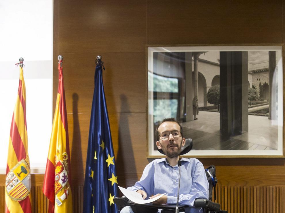 Pablo Echenique, en las Cortes de Aragón.