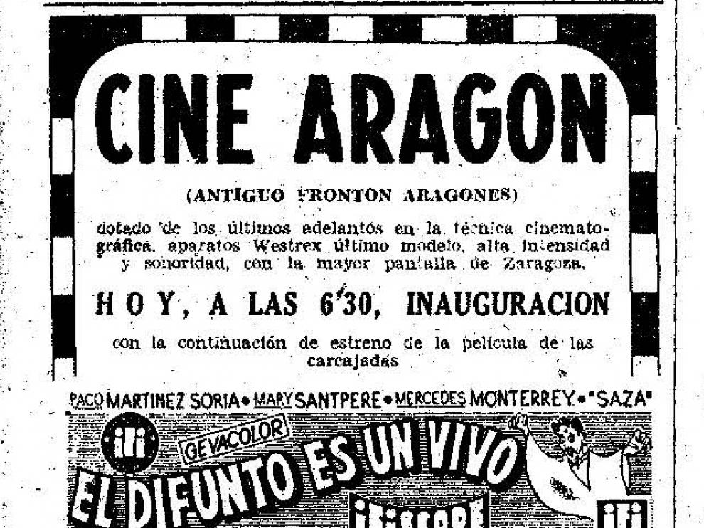 La inauguración del cine Aragón se anunció en HERALDO DE ARAGÓN