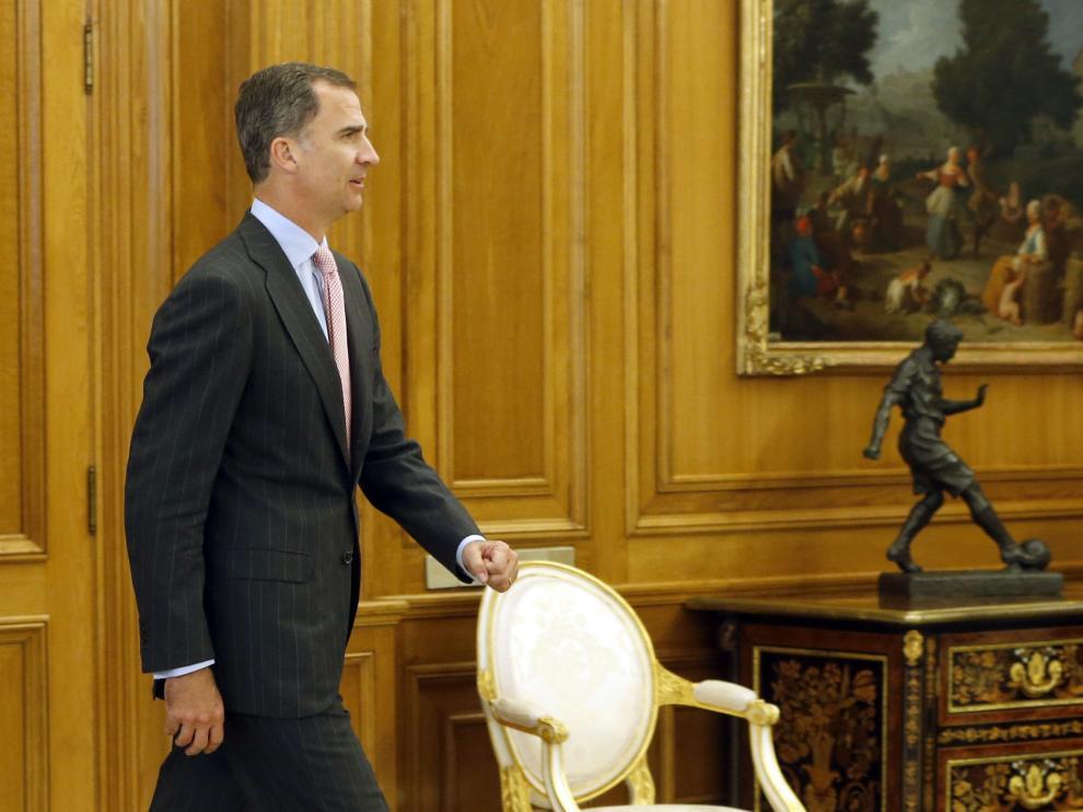 El rey Felipe a su llegada a la audiencia con el coordinador federal de IU, este miércoles