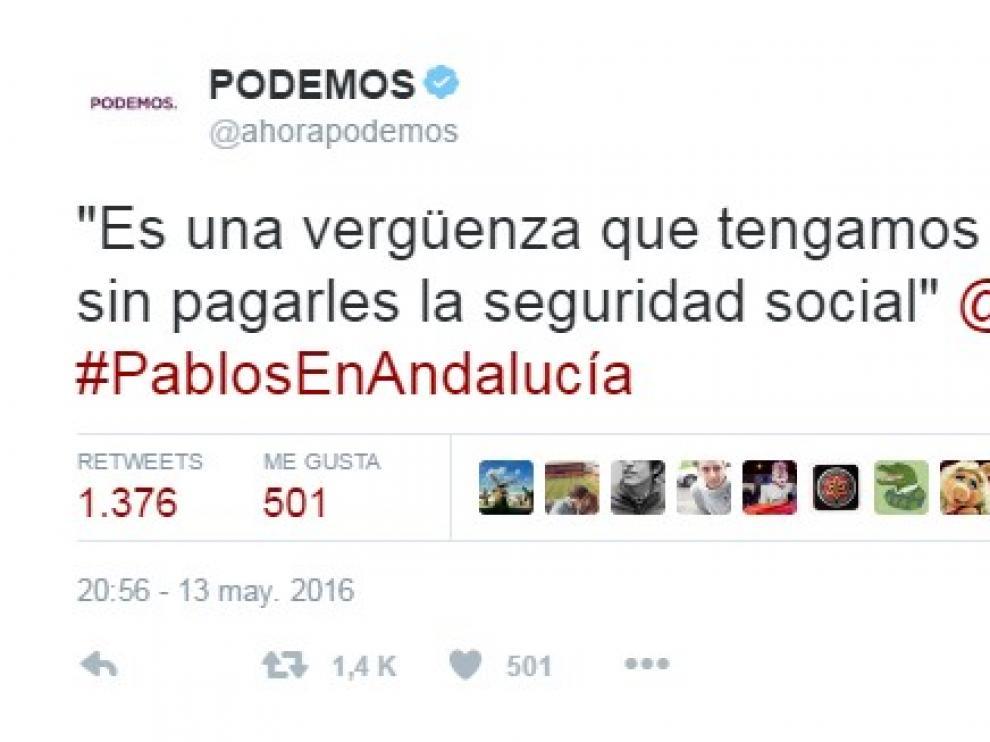 El tuit de Podemos que alude a las palabras de Pablo Echenique en un acto electoral.