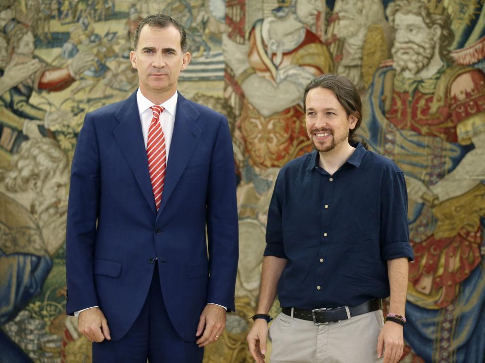 Pablo Iglesias ha acudido al Palacio de la Zarzuela para reunirse con el Rey.