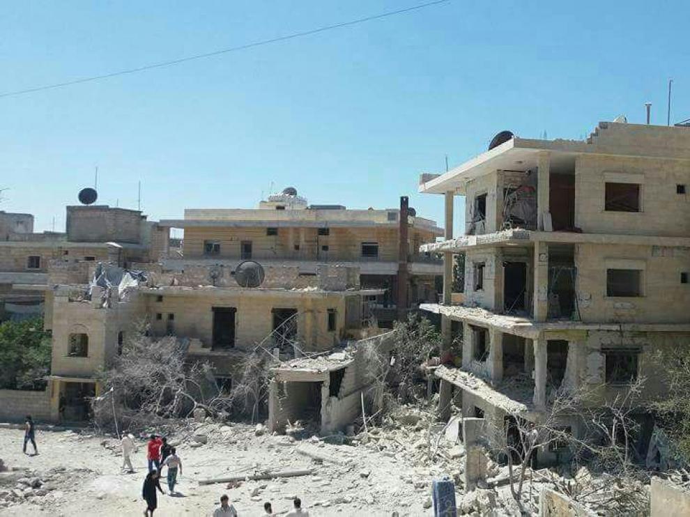 Imágenes del hospital tras el bombardeo.