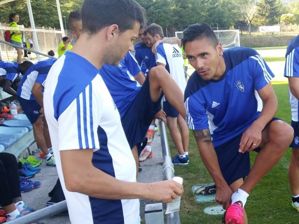 Marcelo Silva, en un entrenamiento durante la concentración en Boltaña