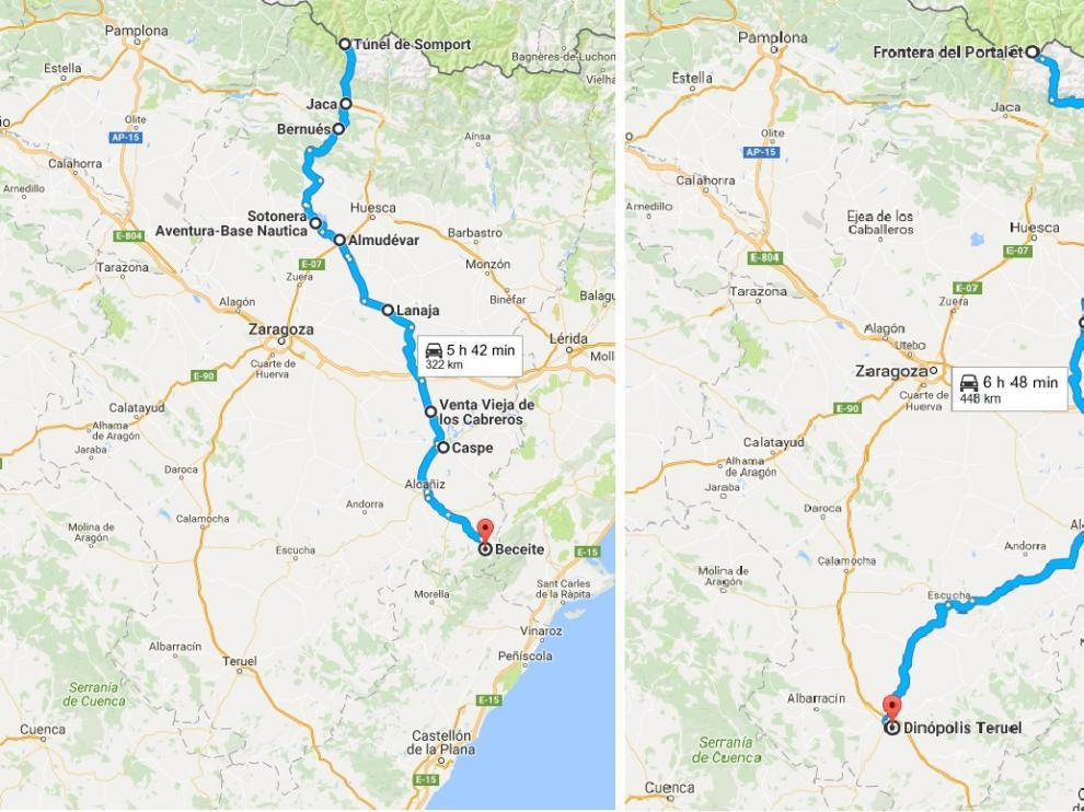 Tres posibles 'rutas 66' por Aragón
