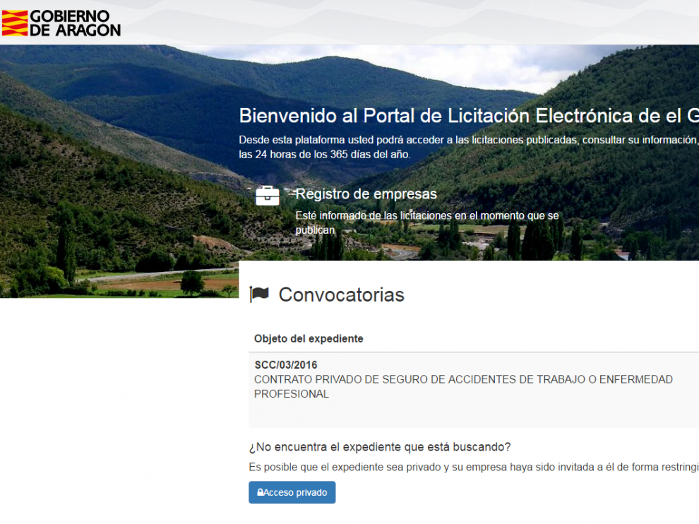 Portal de Licitación Electrónica de el Gobierno de Aragón.