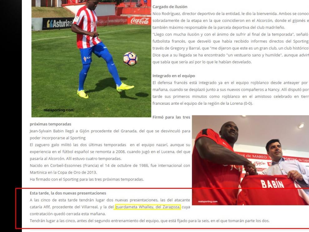Imagen de la información colgada por el Sporting de Gijón en su página web donde se informa, en el último párrafo, del fichaje de Whalley por el club asturiano.