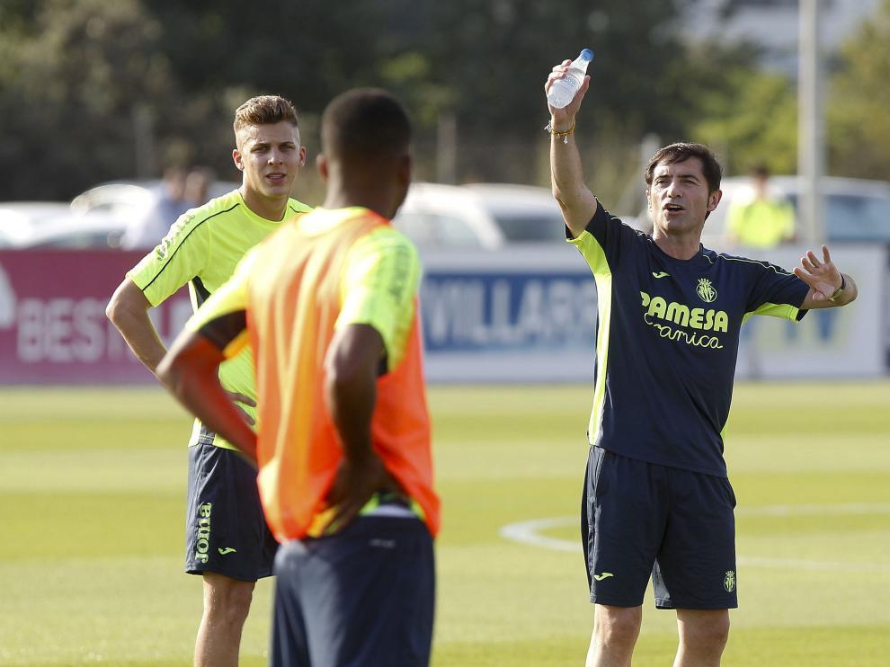 Marcelino, en un entrenamiento de esta temporada.